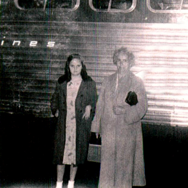 Aunt Sandy and Grandma by bus for trip home from Superior, WI in the fall of 1957 or 1958