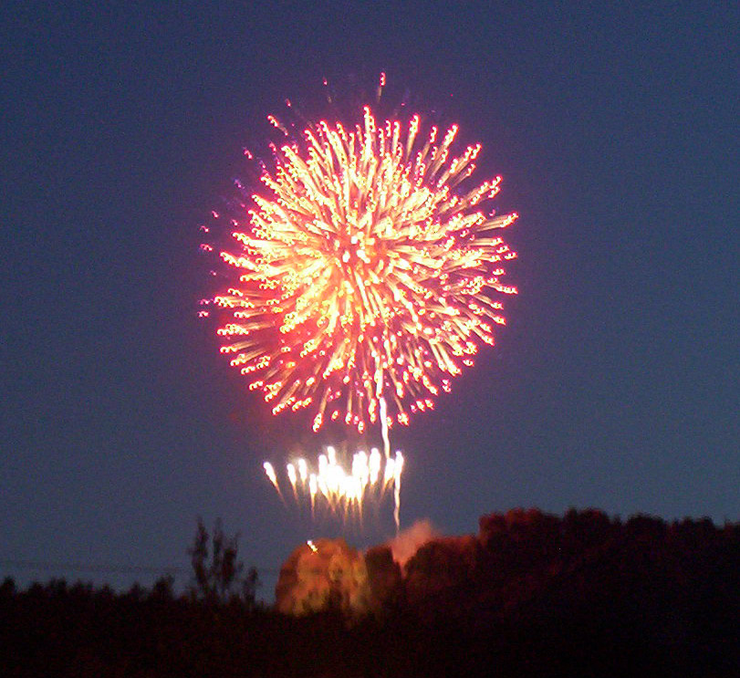 Red Fireworks over Mt Rushmore