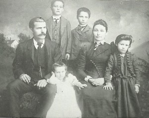 Benjamin F DeGood & Mary Martha Nickell DeGood family Taken at Humansville, Missouri 1891