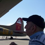 Dad looking at B-17G Bomber