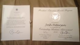 Josh Letter-Award-Pin 5-9-13