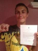 Josh and his White House Letter and Pin 5-9-13