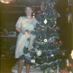 Brenda by the Christmas tree