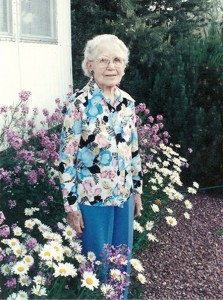 Great Aunt Elsa by her flower garden
