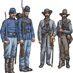 Confederate and Union Infantry uniforms