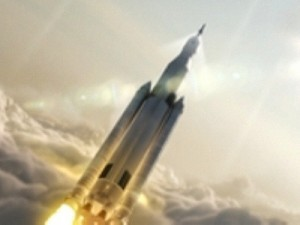 Space Launch System rocket launching with Orion