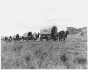 Wagon Train on the Oregon Trail