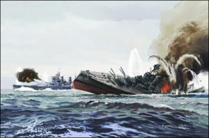 The Bismarck sinks the Hood
