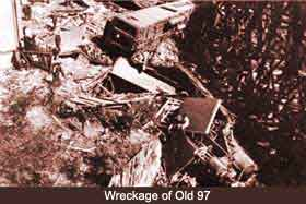 Wreckage of Old 97 aerial view