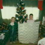 Amy & Corrie with gifts they made for Jessica Lynn Christmas 1984