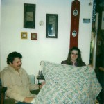 Chris and Allyn Hadlock with blanket made for Jessica by Corrie