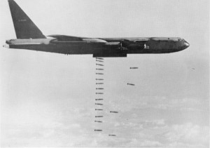 A B-52D Stratofortress from the 93rd Bombardment Wing at Barksdale Air Force Base, La., drops bombs. B-52Ds were modified in 1966 to carry 108, 500-lb bombs while the normal conventional payload before was only 51. (Historical U.S. Air Force photo)