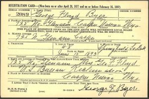 George Floyd Byer draft card WWII
