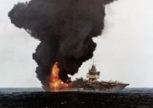 USS Entrprise on fire