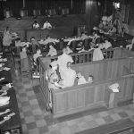 WAR CRIMES TRIALS AT SINGAPORE, 1946 (CF 1048) Indicted Japanese war criminals entering the dock in the Singapore Supreme Court. Copyright: © IWM. Original Source: http://www.iwm.org.uk/collections/item/object/205207322